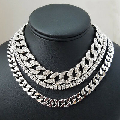 "Mens Chain Necklace Silver Hip Hop Bling Diamond 16"" 18"" Miami Cuban Choker"