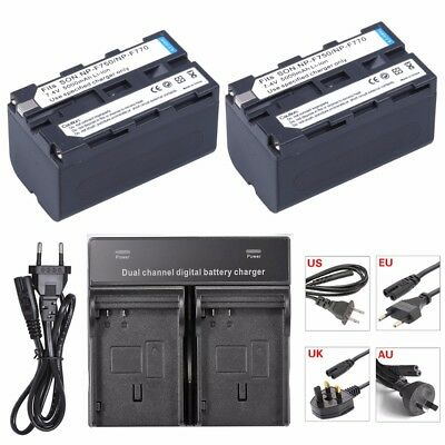 2x NP-F750 NP-F770 Battery + DUAL Charger For Sony CCD-TR917 TR940 TRV101 TRV25