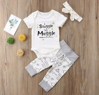 "Harry Potter ""Snuggle this Muggle"" Cute Baby Vest pants Romper outfit"
