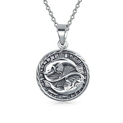 Pisces Zodiac Sign Astrology Round Medallion Pendant Necklace Sterling Silver