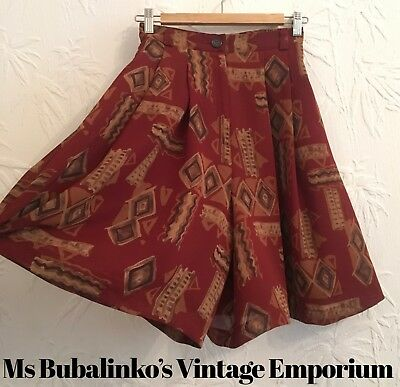 Vintage 90s Red Crazy Pattern Culottes Shorts Size 6 8 High Waist Wide Legs