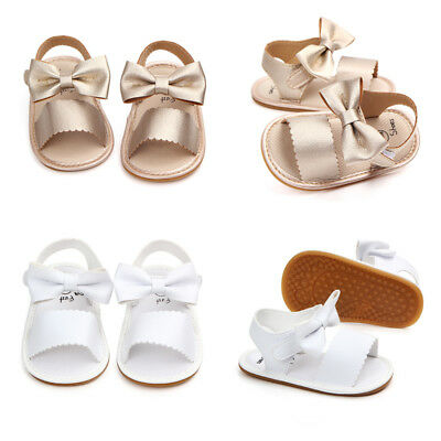 AU Newborn Infant Baby Girls Princess Bowknot Shoes Soft Sole PU Sandals Shoes
