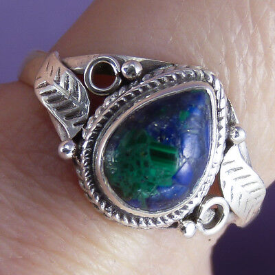 Filigree Feature Size US 7 3/4 SilverSari Gemstone Ring Solid 925 Silver/AZURITE