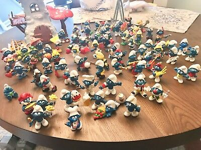 Large Lot Vintage Smurf Collection - 71 Smurfs Including Windmill! Mint!