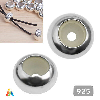 925 STERLING SILVER 6.5x3.5mm PLAIN STOPPER CHARM BEADS SPACER Clasps FINDINGS