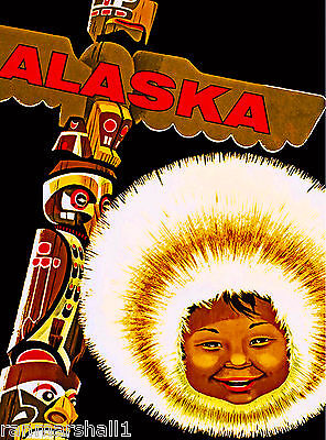 Alaska Eskimo Alaskan Vintage United States Travel Advertisement Art Poster