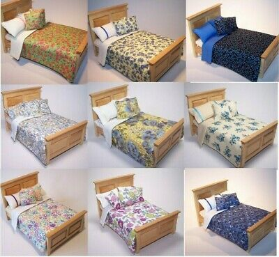 Dolls House Bedding Set 1/12- Handmade-Bed-Double size-Group 1/ Updated 7/2/2019