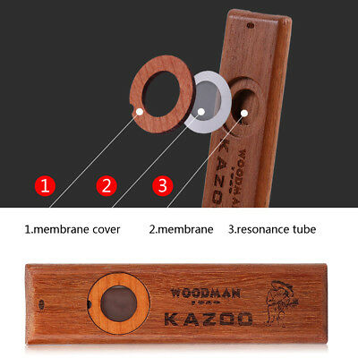 Vintage PortableWooden Kazoo Special Wind Instrument With Membranes&Metal Box