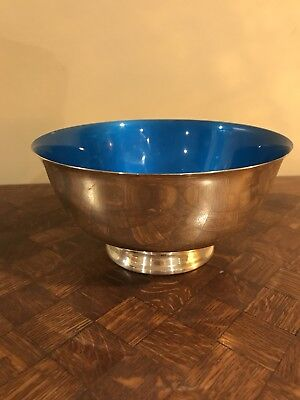 Silverplate Reed & Barton Paul Revere Bowl with Blue Enamel