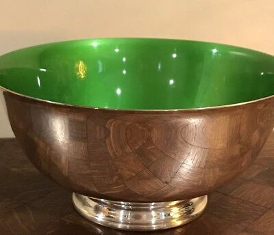 Silverplate Reed & Barton Paul Revere Bowl with Green Enamel