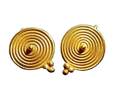 Authentic Ancient Roman Pair Of Gold Earrings / I. Century A.d. /intact /nice