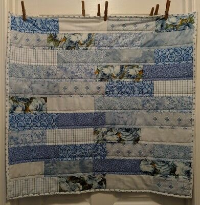 Handmade Baby Girls Patchwork Quilt Blue Floral 34x32