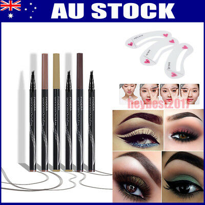Waterproof 4 Head Fork Tip Eyebrow Tattoo Pen Microblading Makeup Ink Sketch HB7
