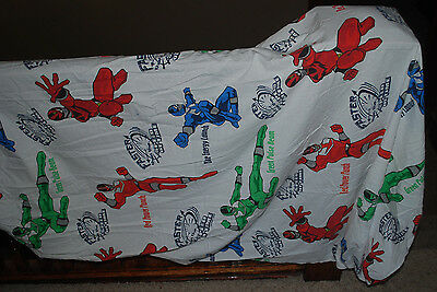 Vintage Power Rangers Fitted Twin Sheet Boys Bedding Super Heroes AS IS