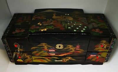 Asian Oriental Lacquer Mother of Pearl Inlay Jewellery Box