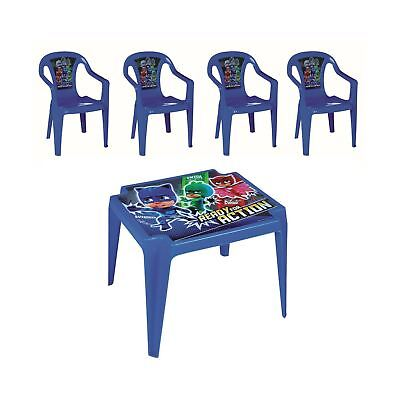 PJ Masks Kids Table & 4 Chairs Set Indoors Outdoors Gardens Patios Picnics