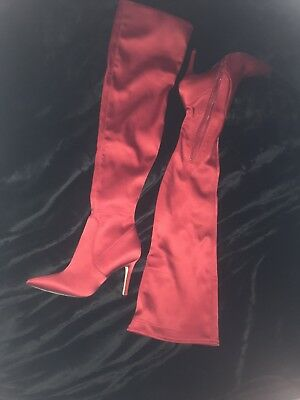 f3654f33010 ALDO RED SATIN Over The Knee Boot Sailors -64 -  86.95