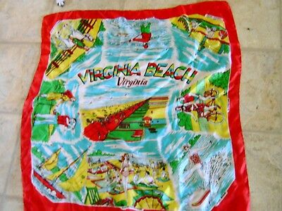 Vintage 24X30 Inches Virginia Beach Silk Scarf Vibrant Colors Nice Graphics