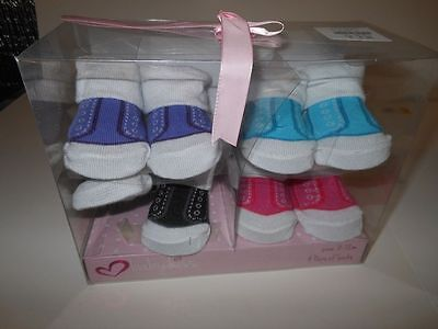 Infant Booties Girls socks Baby boys socks Unisex Baby Kiss 4 prs  0-12 months