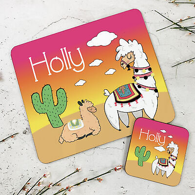 Personalised Kids New Llama Wooden Glossy Placemat and Coaster Set