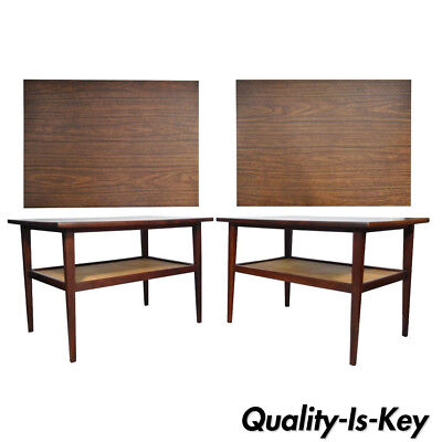 Vtg Pair Mid Century Modern Cane Walnut Laminate Foster McDavid End Side Tables