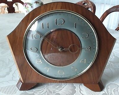 Vintage wooden wind-up mantle clock. Made in Great Britain.