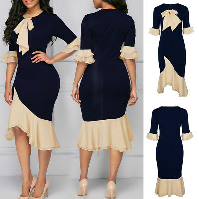 UK Womens Bowknot Party Dress Bodycon Wrap Formal Ruffles Ladies Lace Midi 6-22