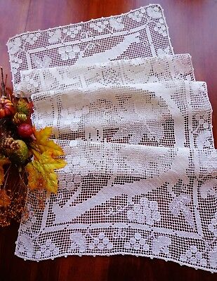 """Antique Italian Handmade FIGURAL LACE Table Runner Grapes and Leaves 43"""" X 15"""""""