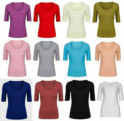 M&S Women's Cotton 1/2 Sleeve SCOOP Neck Pink Green Navy T Shirt Top Tee 8-24