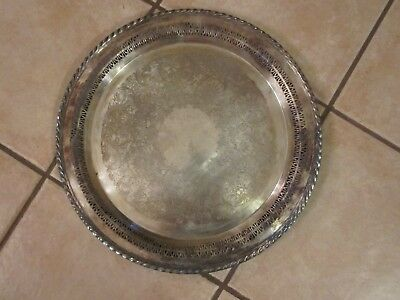 Silver Tray International Silver Hand Inspected Handcrafted Openwork Filigree 15