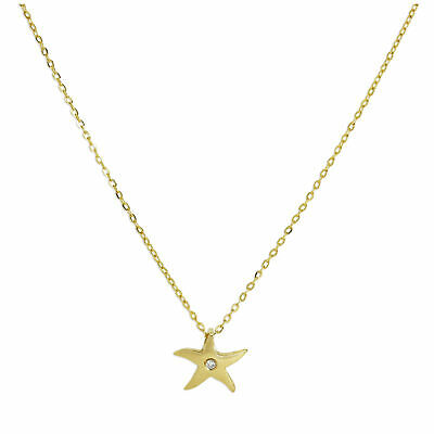 Real 375 9ct Gold & Genuine Diamond Star Fine 1mm Curb Necklace 16 Inches