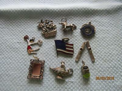 Vintage Sterling Silver Charms Lot of 9 Charms for Bracelets Pendants and More