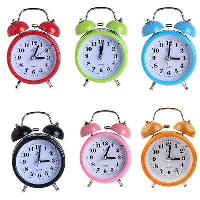 Non-ticking Bedside Double Twin Bell Alarm Clock with Nigth Light Function