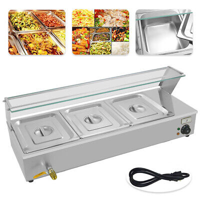 Commercial Electric Bain Marie Food Warmer Holder Top Good Item 3 Pan & Lids