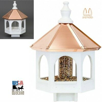 "20"" COPPER TOP BIRD SEED FEEDER - Amish Handmade 14"" Round Post Mount Gazebo USA"