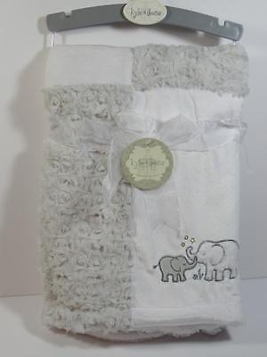 New Kyle & Deena Gray Minky Rose Swirl & White Mink Jungle ELEPHANT Baby Blanket