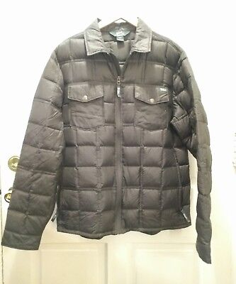 Woolrich mens packable down jacket, dark olive, loden green, large, euc