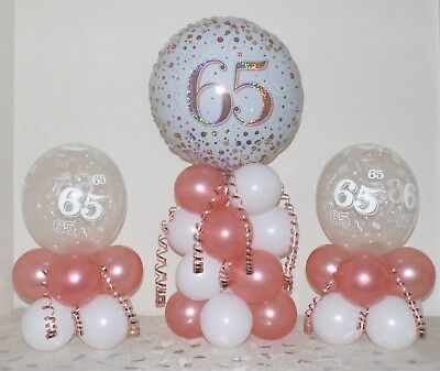 65th Birthday Rose Gold 3 Pack Party Set Table Balloon Decoration Display Kit