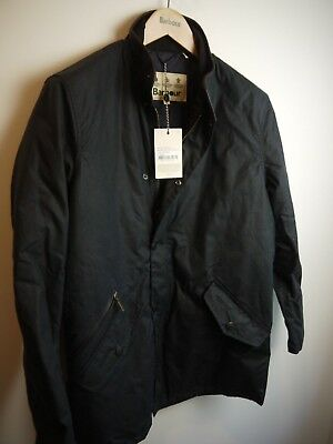 Barbour Mens Prestbury Wax Jacket, New With Tags, Small, Navy Blue