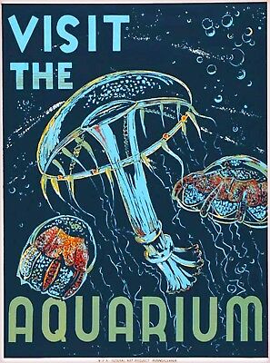 1938 Visit the Aquarium Vintage Pennsylvania Travel Advertisement Poster Print