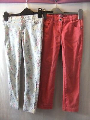 GIRLS F&F 7 years TWO PAIRS OF SKINNY STRETCH JEANS/PALE BLUE FLORAL+DUSKY PINK