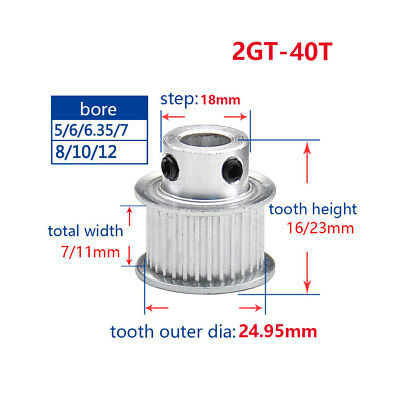 2GT 40T Timing Pulley 5-14mm Bore For 6/10mm Width Belt For 3D Printer Reprap