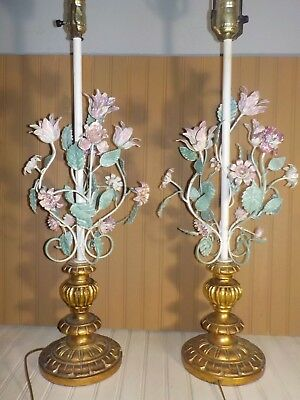 "2 ANTIQUE ITALIAN METAL TOLE MULTI COLOR LAMPS, shabby chic, 35""T, RARE, WORKS"