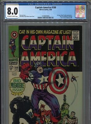 1968 Marvel Captain America #100 Premiere Issue Black Panther Cgc 8.0 Ow-White