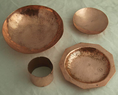 Collection Of Vintage Arts & Crafts Hand Made Copper Items