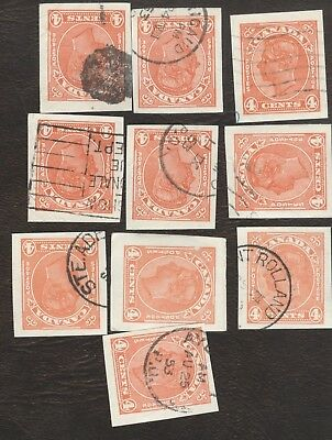 Stamps Canada # U 67, 4¢, 1938, lot of 10 used stamps.