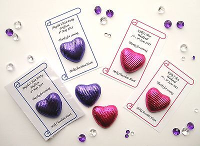 Personalised Favours - Choc Heart - Hen Party/Wedding/Anniversary/Christening