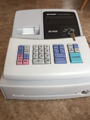 SHARP Electronic Cash Register XE-A102 Used with tape roll and both keys