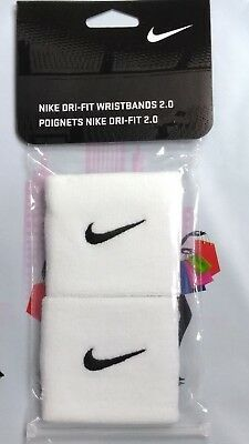 Nike Tennis Dri-Fit Wristbands 2.0 - 1 Pair White/Black - One Size Fits Most