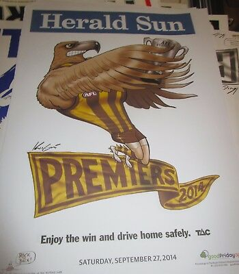 2014 Hawthorn Football Club :  AFL Premiers: Official Herald Sun Poster unframed